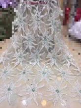 Hot Sale french lace 5yards/lot cheap african sequins fabric white high quality tulle FJDYS