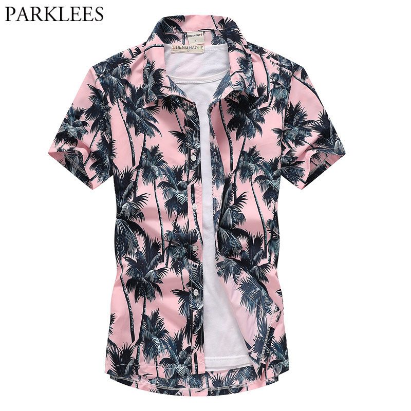 Pink Hawaiian Beach Shirt Men Summer Short Sleeve Palm Tree Print Button Down Aloha Shirts Holiday Party Fit Camisa Hawaiana 5X