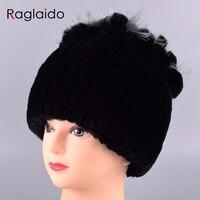 Raglaidoฤดูหนาวหมวกขนกระต่ายจริงSkulliesผู้หญิงหมวกหิมะดอกไม้h andknit Beanies windproofไหมพรมbrimlessหมวกLQ11208