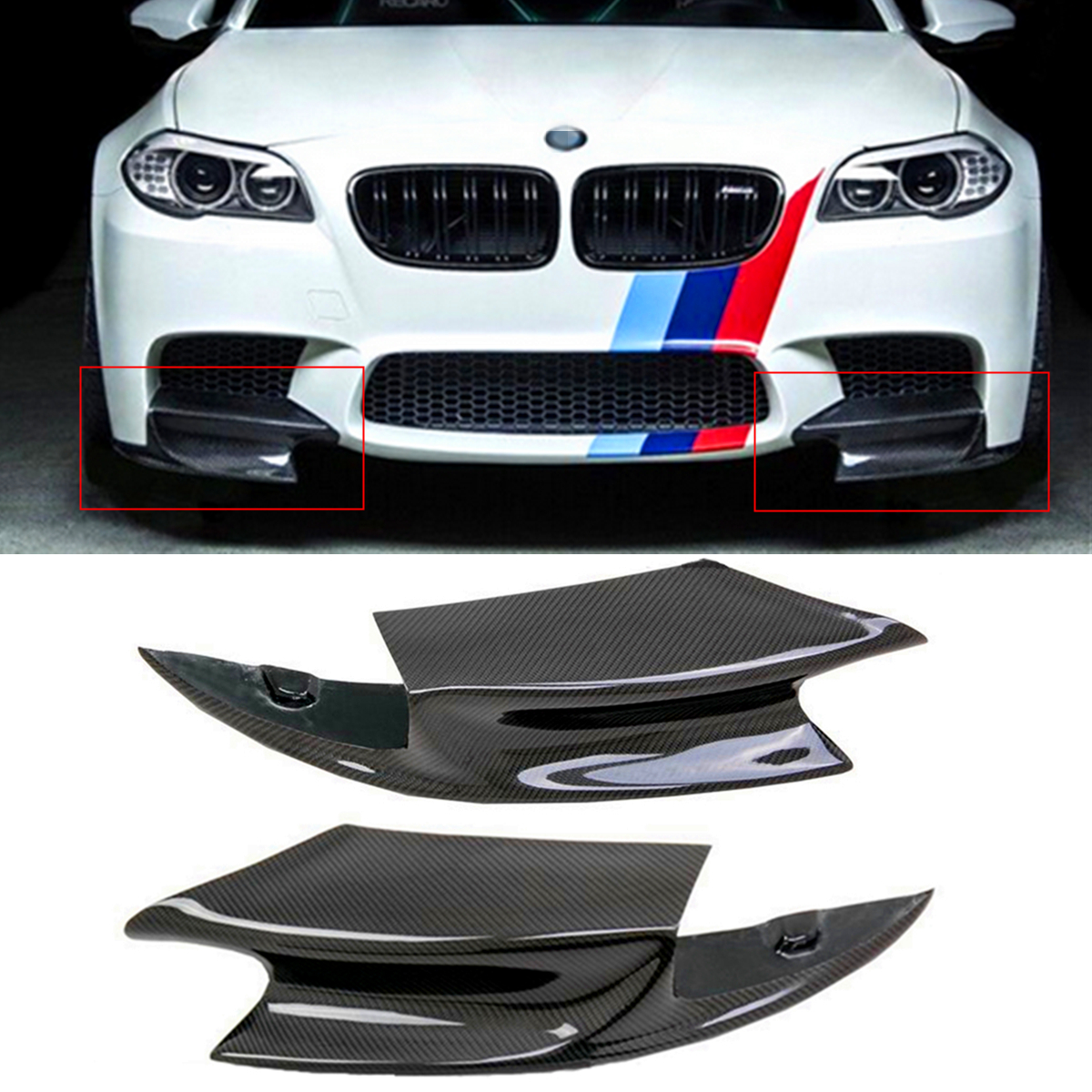 1 Pair Real Carbon Fiber Front Bumper Splitter Lip Fin Air Knife Auto Body For BMW F10 M5 2012-2016 R Style Diffuse Splitters цена