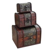 3Pcs/set Antique Wooden Box Handmade Trinket Storage Keepsake Jewelry Gift Boxes for Wedding Valentine's Day