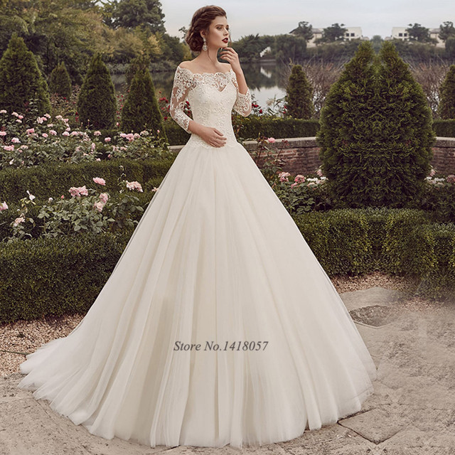 Gelinlik Castle Ball Gown Wedding Dresses 2017 Vestido De Casamento  Princess Wedding Gowns Lace Cheap Bride