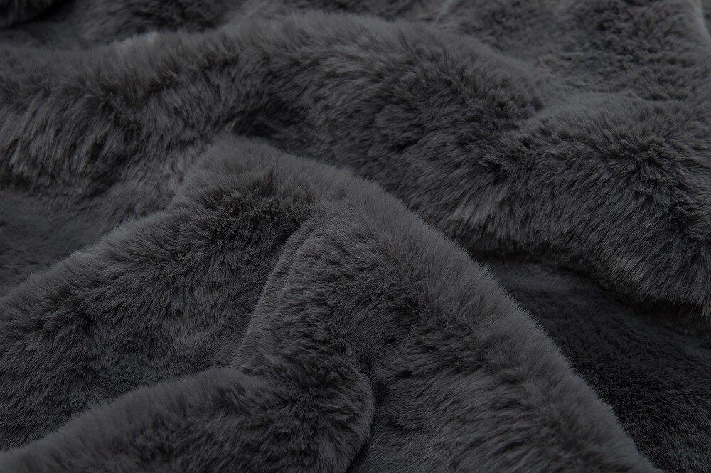 Модной высокого качества серый пальто с мехом зима искусственного меха пальто для мужчин и женщин