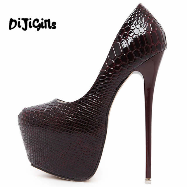 Online Shop Women Heels 2017 Fashion Snake Print Platform Heels Green  Wedding Bridal Shoes Sexy Womens Black High Heels 16cm Stilettos  4fc4af102948