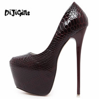 Women Heels 2017 Fashion Snake Print Platform Heels Green Wedding Bridal Shoes Sexy Womens Black High Heels 16cm Stilettos