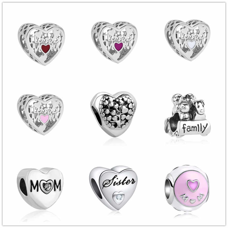 european 1pc heart family  bead charms Fit Pandora Charms  925 Bracelet for women men creative diy jewelry EL083