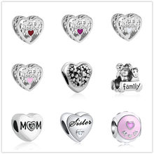european 1pc heart family bead charms Fit Pandora Charms 925 Bracelet for women men creative diy jewelry EL083(China)