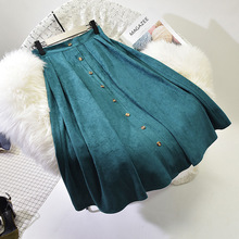 Sherhure 2018 Suede Long Pleated Skirts Saias Faldas Vintage High Waist Women