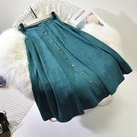 Sherhure 2018 High Quality Women Suede Skirt Long Pleated Skirts Womens Saias Midi Faldas Vintage High Waist Women Midi Skirt