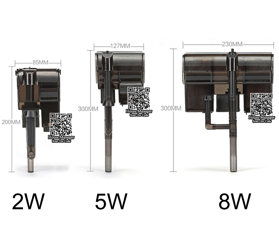 2W 5W 8W External Aquarium Filter 3plus = Skimmer