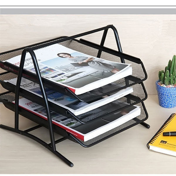 DIY Metal Mesh 3-Tier Document Tray Magazine Frame Paper Files Holder Steel Mesh Desk Organizer Office Supplies Pen Holder
