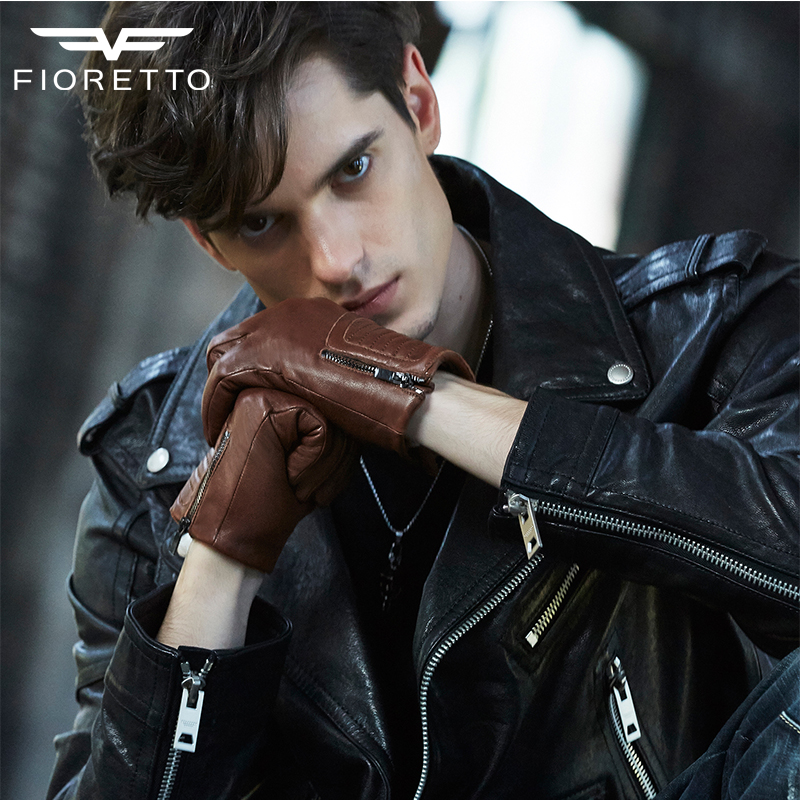 FIORETTO Fashion Mens Leather Gloves  Warm Winter Leather Gloves Wool Cashmere Lined Driving Mens Gloves Italian Leather Black