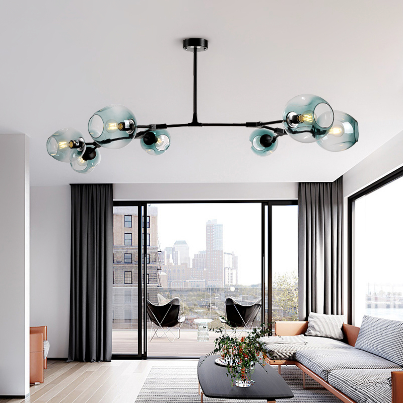 Postmodern LED chandelier Glass hanging lights Nordic suspension luminaires living room suspended lighting fixtures pendant lamp