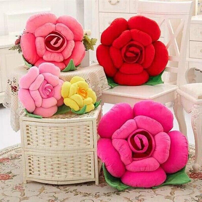 Pillow Sofa Back-Cushion Wedding-Decoration Soft-Throw Rrose-Flower Stuffed 40cm/50cm