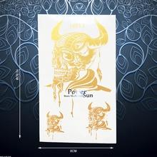1PC Evil Skull Demon Ox Horn Temporary Tattoo Sticker Waterproof Flash Body Art Fake Tatoos Gold Metallic Tattoo Stickers PGH013