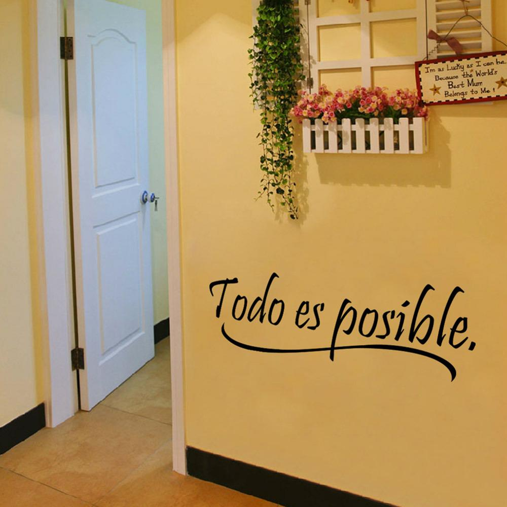NEW Everything Is Possible Spanish Inspiring Quotes Wall Sticker ...