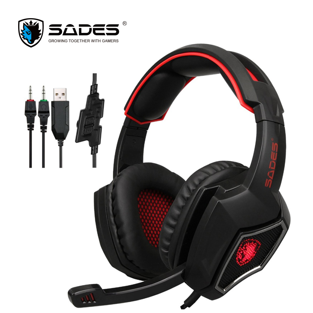 SADES Spirit Wolf 3.5mm Profesional Gaming Headset Game Headphone with LED light and 2m Cable for Computer or Mobile Phone each g8200 gaming headphone 7 1 surround usb vibration game headset headband earphone with mic led light for fone pc gamer ps4