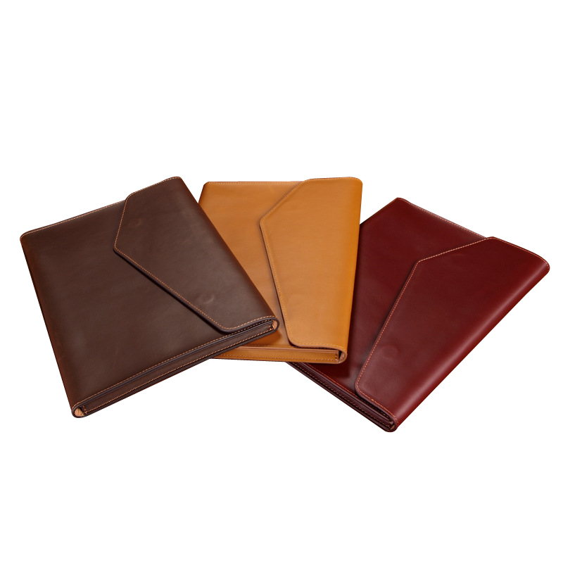A4 Leather Folder Document Bag Document Paper Organizer Cow Leather File BagFile Folder   -