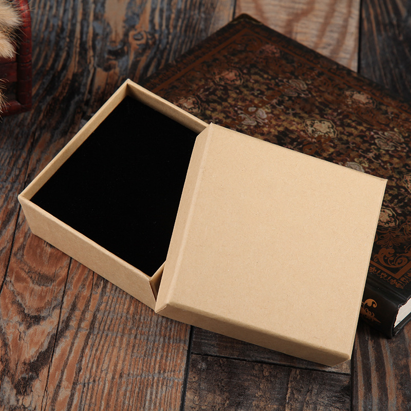 1 Pcs Brown Kraft Paper Favour Jewelry Box Vintage Design Gift Packaging Box Casket Earrings Ring Pendant Bracelet Boxes in Jewelry Packaging Display from Jewelry Accessories