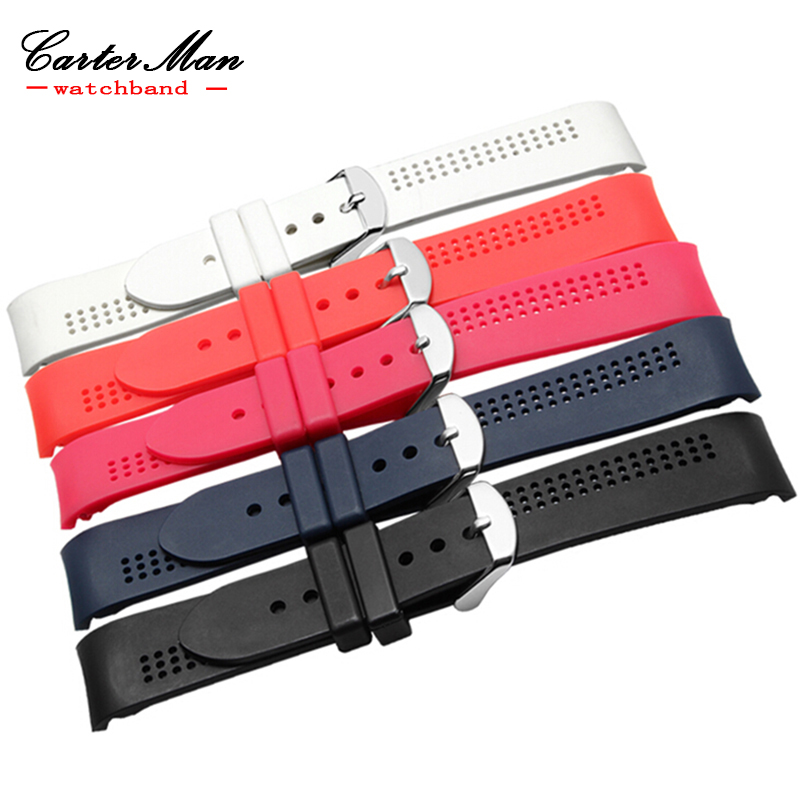 18mm wear rubber watchband for women's black Dark blue red white waterproof silicone watch strap with stainless steel buckle for casio 552 silicone watchband with black stainless steel buckle rubber sports waterproof watch band strap