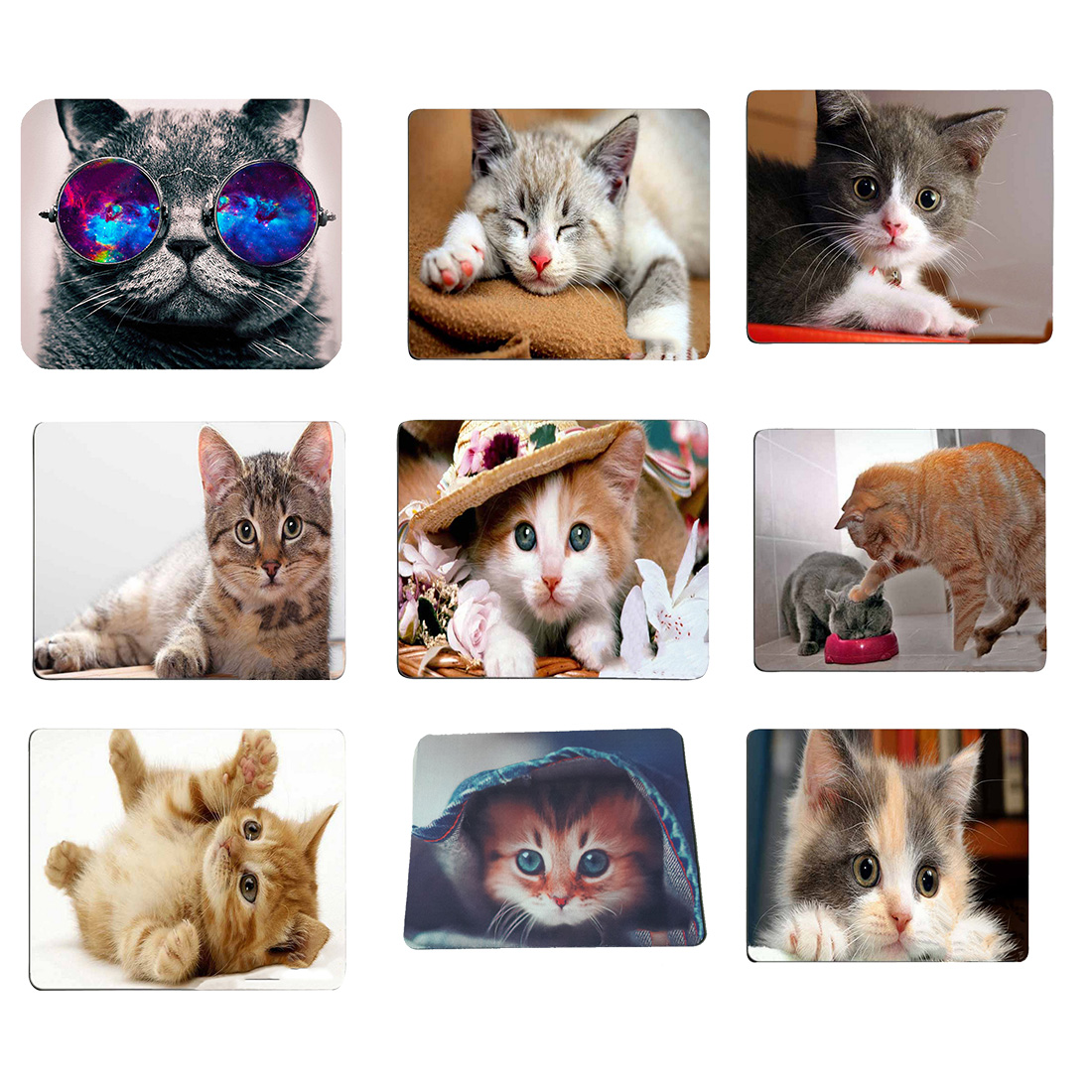 NOYOKERE Mouse Pad Cute Cat Picture Anti-Slip Laptop PC Mice Pad Mat Mouse pads For Optical Laser Mouse Gamer Mousepad maikou mouse pad cat wears eyeglasses