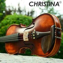 Italie Christina V02 débutant violon 4/4 érable Violino 3/4 Antique mat haute qualité à la main acoustique violon violon étui arc colophane