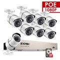 ZOSI 1080 P 8CH red PoE Video sistema de vigilancia 8 piezas 2MP de interior al aire libre IP cámaras de seguridad CCTV NVR kit de 2 TB HDD