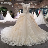 LS00260 Vestido De Noiva Casamento See Through Back Cap Sleeve Lace Ball Gown Cathedral Train Beading