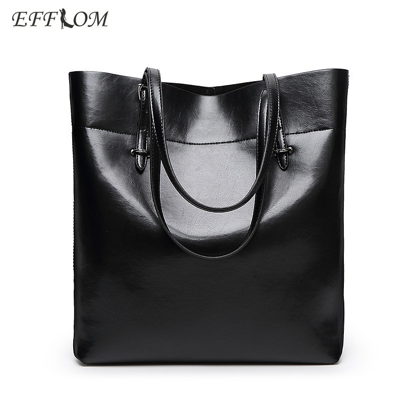 EFFLOM Handtasche Frauen Luxus Marke 2017 Vintage Öl Wachs Frauen Leder Schulter Tasche Damen Büro Tasche Neverfull Großen Eimer Tasche