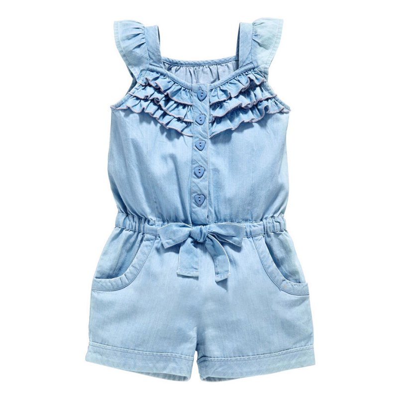 Kids Girls Clothing Rompers Denim Blue Cotton Washed Jeans Sleeveless Bow Jumpsuit 0-5Y ...
