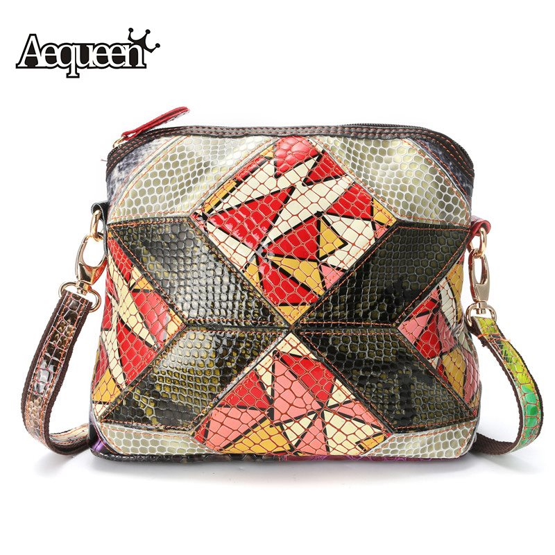 738d01b96b7a AEQUEEN Crossbody Bag Women Genuine Leather Shoulder Bags Bright Colorful  Patchwork Messenger Handbag Lady Summer Style
