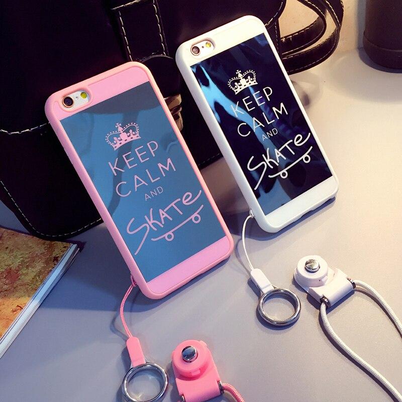 XINHU pour iphone cas pour l'iphone 6 s Cas Couverture 6 6 plus lanière pour apple étui de protection gel de silice shell miroir téléphone en gros