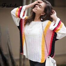 Fitshinling Autumn Rainbow Striped Sweater Knitwear 2019 Big Sleeve Korean Style Women Sweaters Pullovers Loose Pull Femme Sale