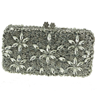 New 2015 Women Bag Famous Brand Handbags Flower Pattern Female Handbag Designers Purple Clutch Evening Bag