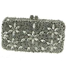 2016 frauen Marke Handtasche Platz Berühmte Weibliche Designer-handtaschen Boxed Kupplung mit Kette Kristall Silber Kupplungen für Hochzeit