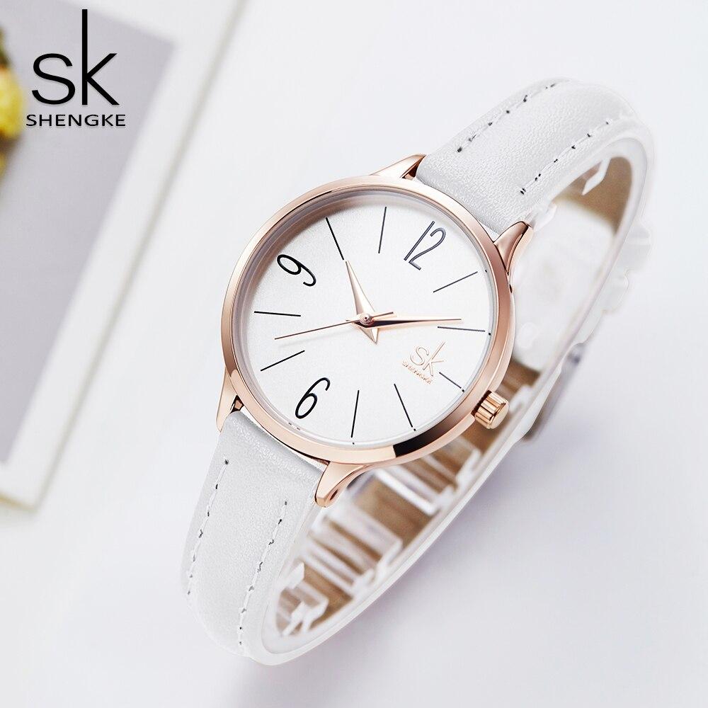 Shengke Bayan Kol Saati Elegant Slim Thin Quartz Watch Leather Women Watches Ladies Business Wristwatch Clock Relojes Mujer 2018