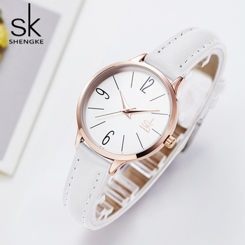 Shengke bayan kol saati Elegant Slim Thin Quartz Watch Leather Women Watches Ladies Business Wristwatch Clock Relojes Mujer 2018 image