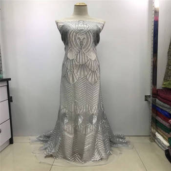 2019 High Quality African Lace Fabric Gold , Royal Blue French Net Embroidery Sequins Tulle Lace Fabric For Nigerian party Dress