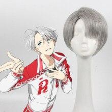 New Japan Anime Yuri!!! on Ice Victor Nikiforov Short Synthetic Hair Grey Peruca Cosplay Wig