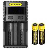 topsale NITECORE SC2 Intelligent Charging 3A Speedy charge Superb Battery Charger with 5A Total Output + 18650x 2 Batteries