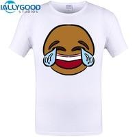 Cute Cry Boy Emoji Print 2017 Mens Summer Style T Shirt Short Sleeve O Neck Funny