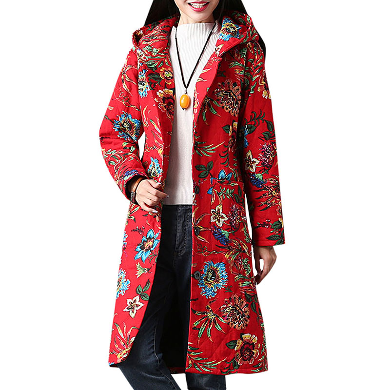 2019 Autumn Winter Floral Print   Parkas   Women Ethnic Outerwear Multicolor Hooded Neck Single Breasted Pockets Coat female Jacket