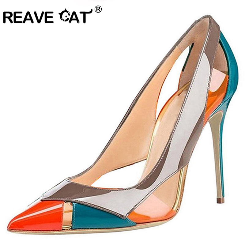 REAVE CAT Shoes woman Pumps Ladies high heels shoes Spring summer Patent leather Glitter Pointed toe