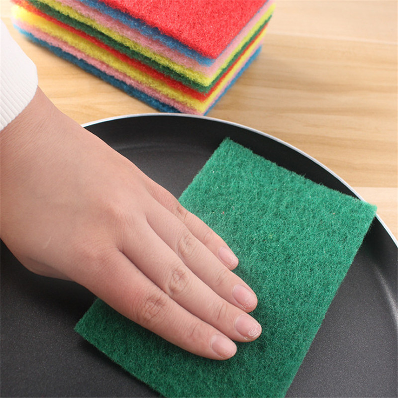 FEIGO 10Pcs Scouring Pad Cleaning Wiper Brush Bowl Pot Kitchen Strong Decontamination Non Stick Oil Dish Towel Clean Tools F1282