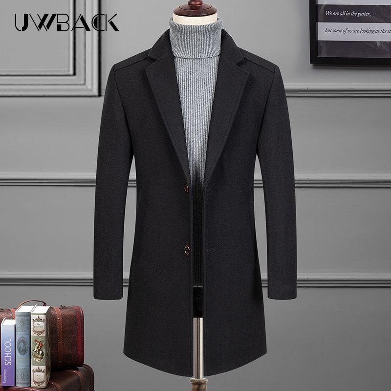 2019 Winter Wool Jacket Men's High-quality Wool Coat casual Slim collar wool coat Men's long cotton collar trench coat DA007(China)
