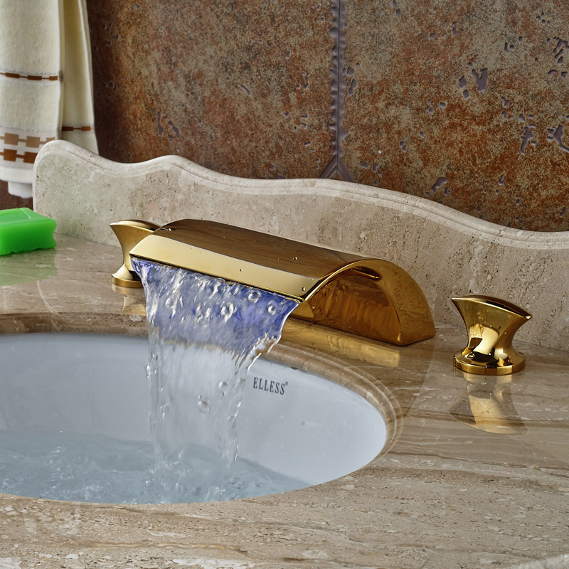 Bright Golden Waterfall Spout LED Bathroom Basin Faucet Vanity Sink Mixer Tap Dual Handles