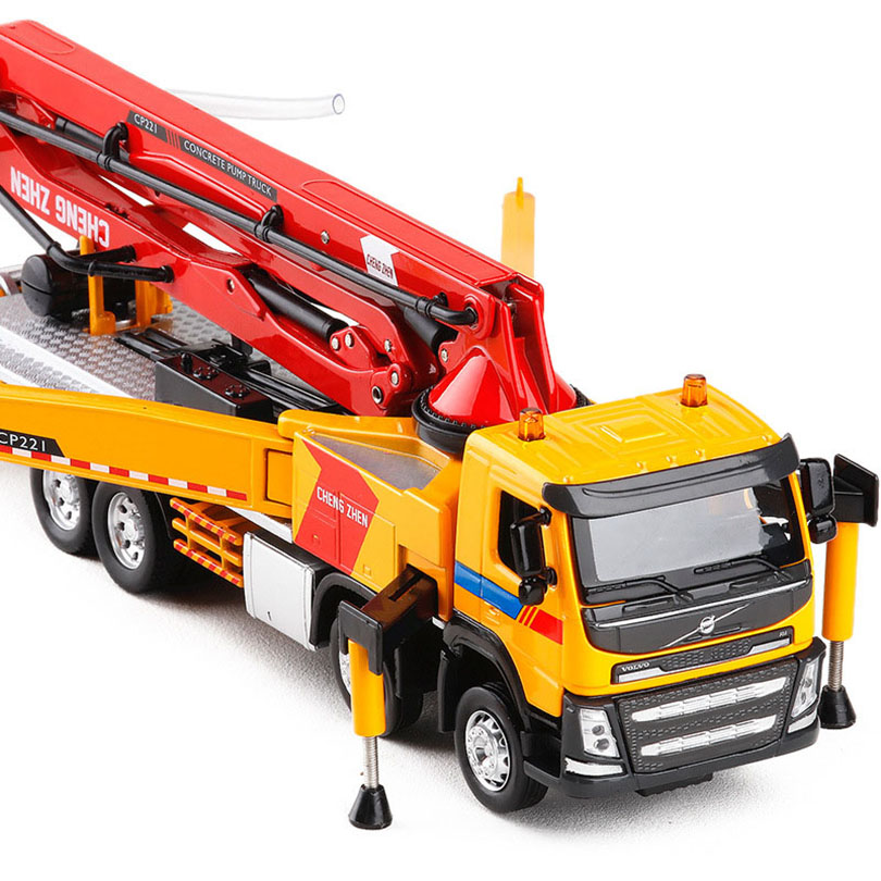 1 50 Engineering Concrete Pump Truck Simulation Toy Car Model Alloy Pull Back Children Toys Genuine