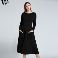 WYHHCJ Autumn Winter High Quality Elegant Dress 2017 Office Black Dresses For Women Behind The Zipper