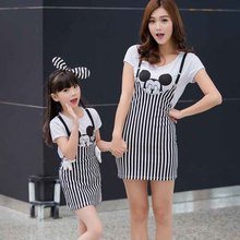 2017 Family Minnie&Mickey Clothes Matching Mother And Daughter Sets Cotton T-Shirts +Overalls Dresses Mother Daughter Dress