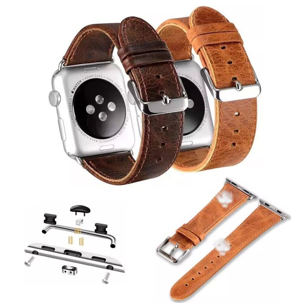 Crazy Horse Vintage Correa de cuero genuino para Apple Watch Series 4 3 2 1 Banda para iWatch 44mm 42mm 40mm 38mm Correa de reloj